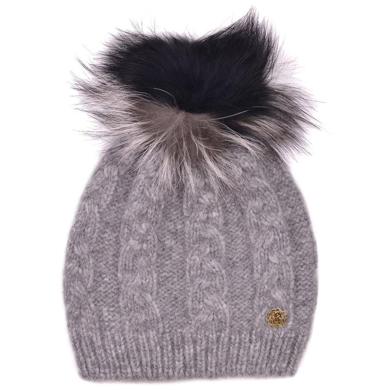 Roberto Cavalli Womens Grey Alpaca Cable Knit Fox Fur Hat For Sale