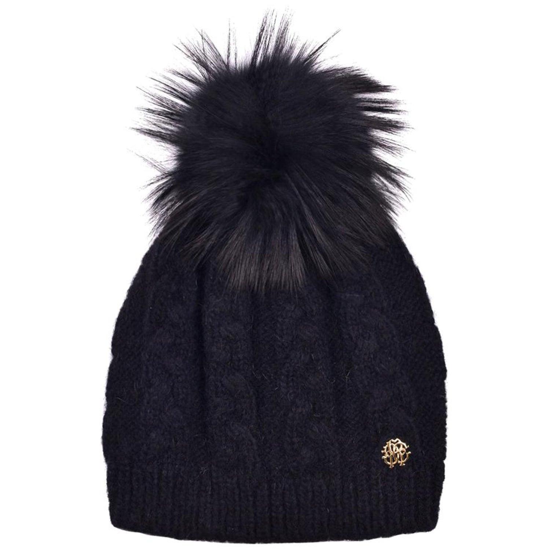 d02a5c8851d0c Roberto Cavalli Womens Black Alpaca Cable Knit Fox Fur Hat at 1stdibs