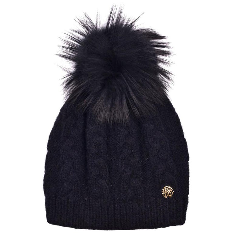 Roberto Cavalli Womens Black Alpaca Cable Knit Fox Fur Hat