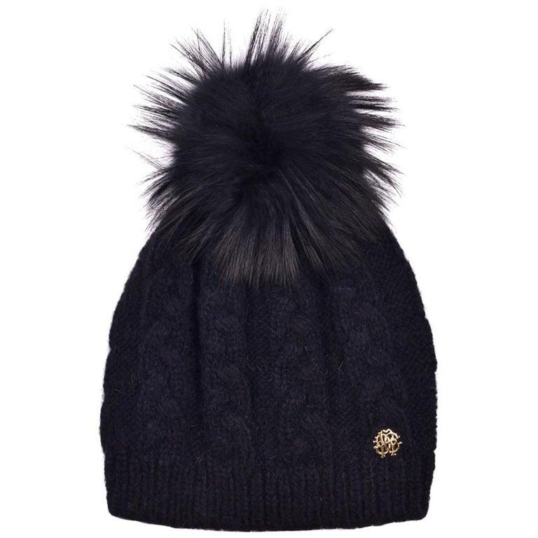 Roberto Cavalli Womens Black Alpaca Cable Knit Fox Fur Hat For Sale