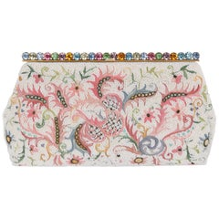 BAGS BY JOSEF c.1940's Floral Point De Beauvais Glass Beaded Frame Top Clutch