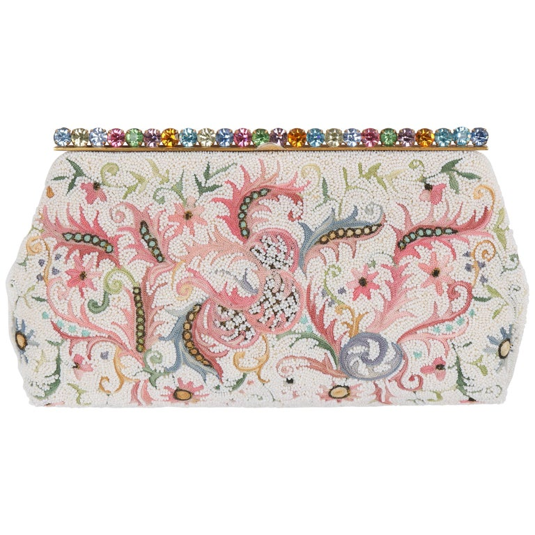 9e3aa27c0 BAGS BY JOSEF c.1940's Floral Point De Beauvais Glass Beaded Frame Top  Clutch For