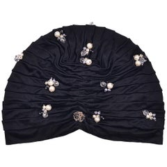 Roberto Cavalli Women Black Pearled Stone Applique Tiered Turban
