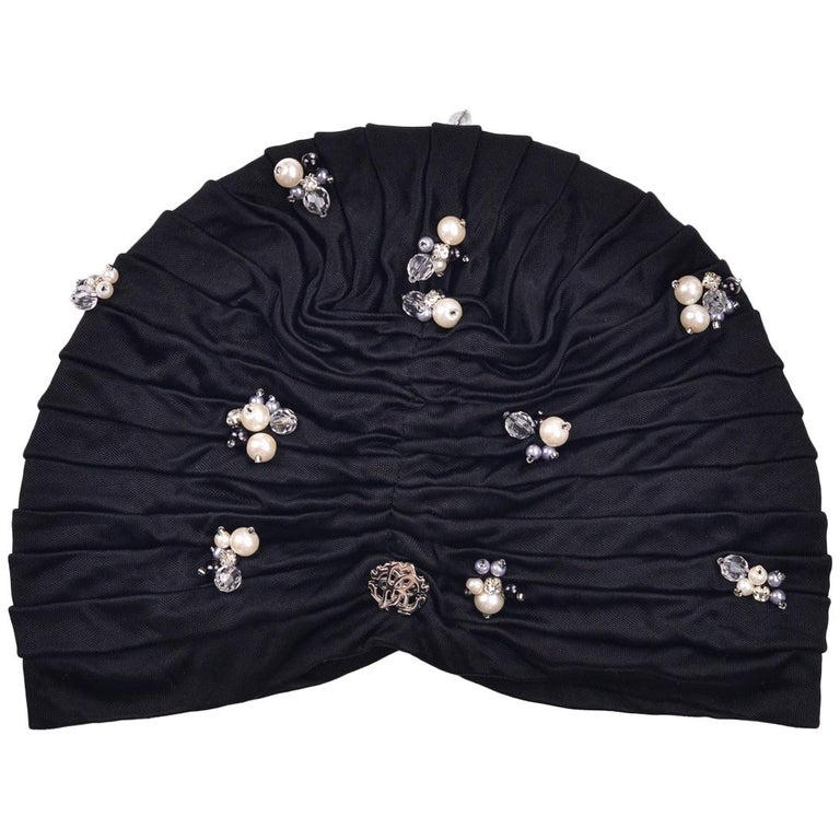Roberto Cavalli Women Black Pearled Stone Applique Tiered Turban For Sale