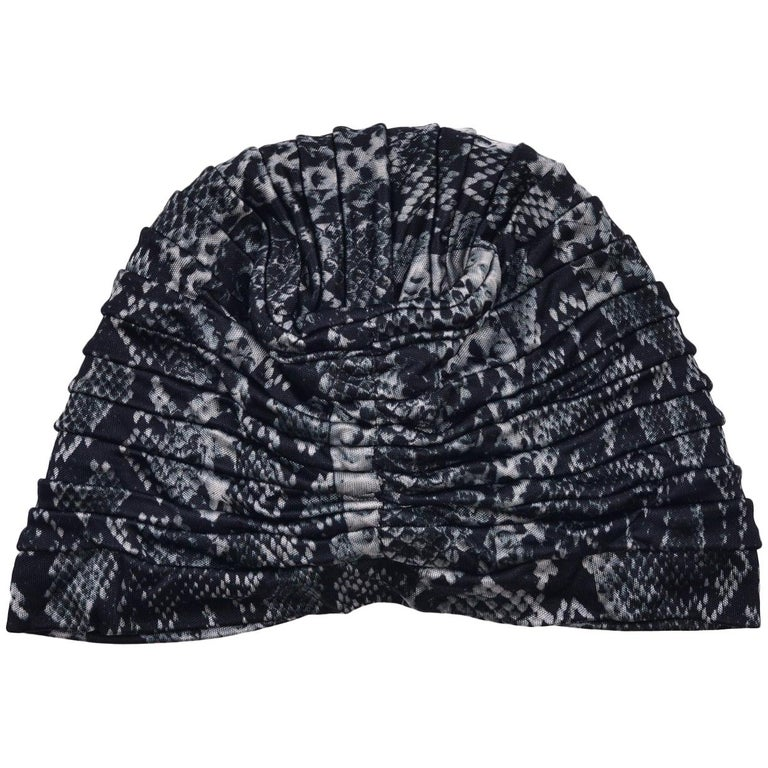 Roberto Cavalli Women Black Grey Snake Print Tiered Turban