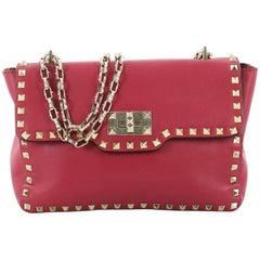 Valentino Rockstud Twist Lock Chain Shoulder Bag Leather Medium