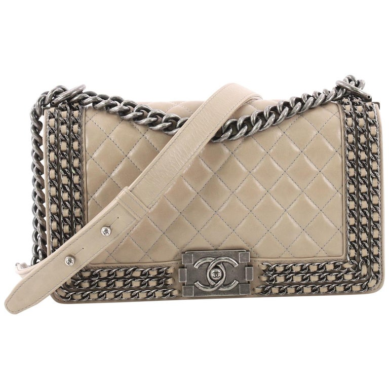df0a63ea5fd8 Chanel Chained Boy Flap Bag Quilted Glazed Calfskin Old Medium For Sale
