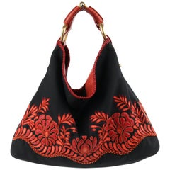 "GUCCI Black Canvas & Red Lizard Leather Floral Applique ""Horsebit Chain Hobo"""