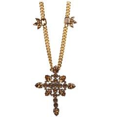 Roberto Cavalli Gold Brown Swarovski Cross Pendant Cuban Curb Necklace