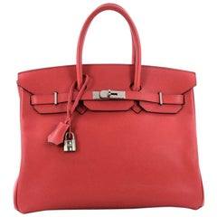 Hermes Birkin Handbag Bougainvillia Red Epsom with Palladium Hardware 35