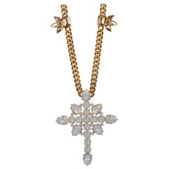 Roberto Cavalli White Opal Swarovski Cross Pendant Cuban Curb Necklace