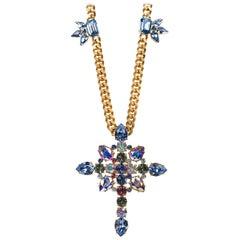 Roberto Cavalli Cuban Curb Blue Aurora Borealis Swarovski Cross Chain