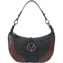 VALENTINO Garavani S/S 2002 Denim & Brown Leather Signature V Shoulder Bag
