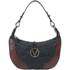 VALENTINO Garavani S/S 2002 Denim & Brown Leather Signature V Shoulder Bag
