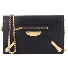 Balenciaga City Metal Plate Flat Studs Wallet on Chain Leather Small