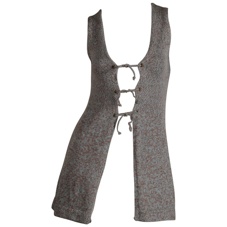 1970s Mary Farrin Vintage Wool Knit Lace Up Sweater Vest or Waistcoat For Sale