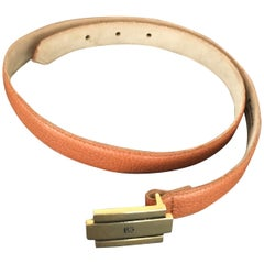 Guy Laroche Tan Leather Belt with Logo Buckle