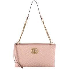 Gucci Marmont Double Zip Chain Bag Matelasse Leather Medium