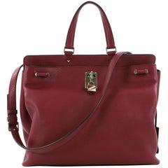 Valentino Joy Lock Top Handle Bag Leather Medium