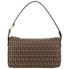 FENDI c.2007 Brown Monogram Zucchino Zucca Jacquard Leather Baguette Purse NWT