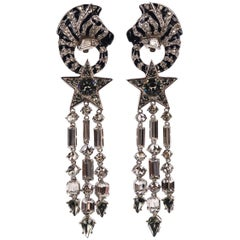 Roberto Cavalli Women Silver Swarovski Enameled Zebra Clip on Earrings