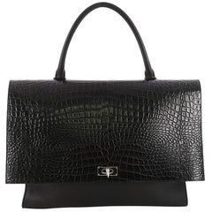 Givenchy Shark Convertible Satchel Crocodile Embossed Leather Large