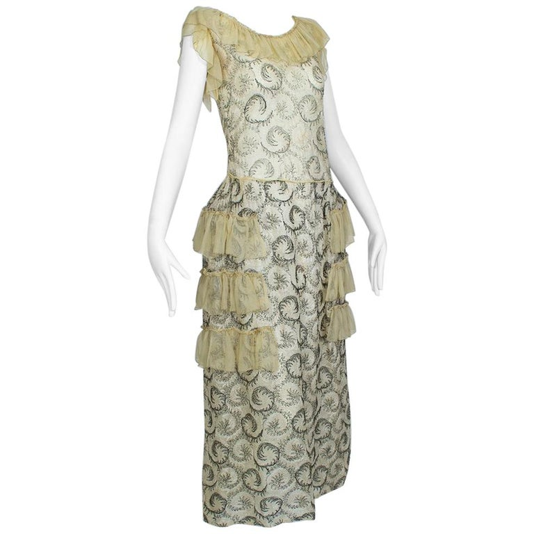 Edwardian Chiffon Robe de Style with Scrolling Embroidery, 1910s For Sale