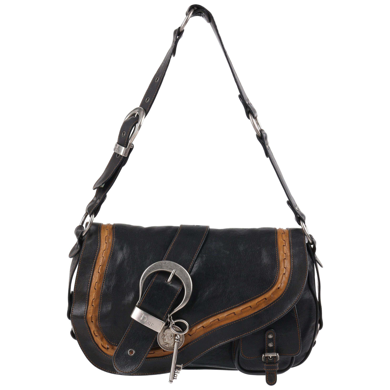 """CHRISTIAN DIOR S/S 2006 """"Gaucho"""" Black & Tan Leather Shoulder Saddle Bag"""