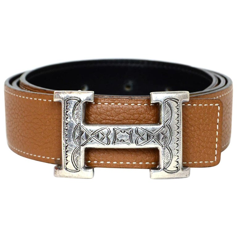 Hermes Black / Tan Leather Sterling Silver Touareg Etched H Belt 90