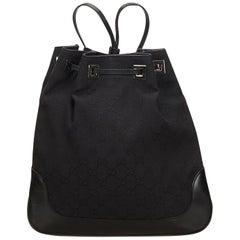 Gucci Black Guccissima Jacquard Drawstring Backpack