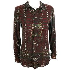 Jean Paul Gaultier Vintage Aboriginal Maori Tattoo Print Shirt