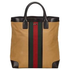 Gucci Brown x Beige x Multi Web Canvas Handbag