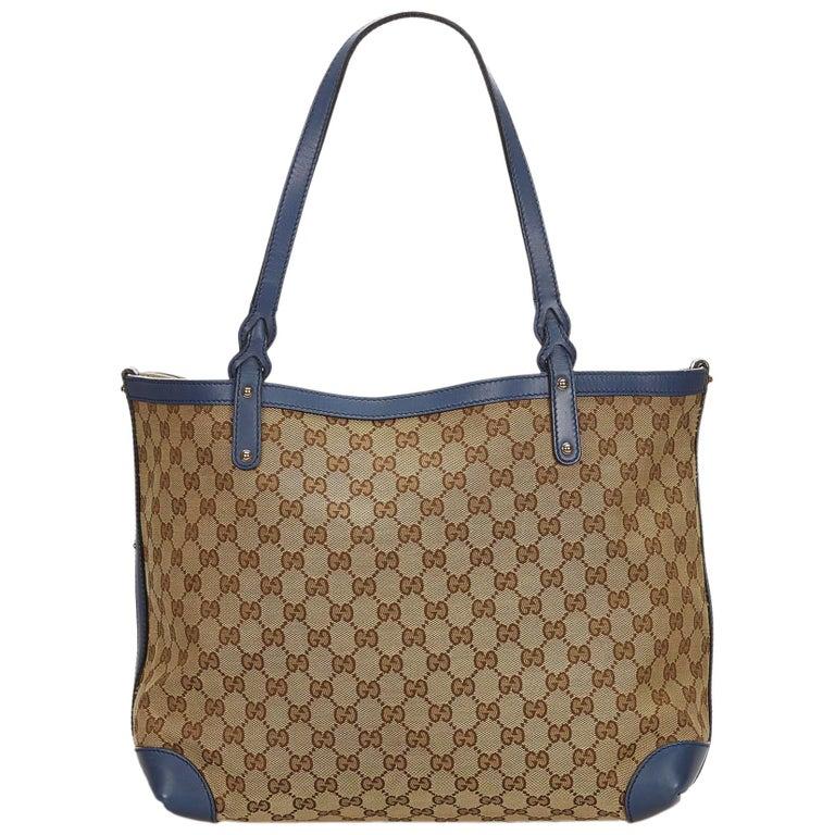 86255f7b7db Gucci Monogram Large Tribeca Brown Leather Shoulder Bag Tote For ...