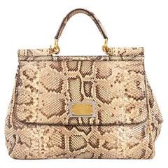 Dolce & Gabbana Large Miss Sicily Python Handbag