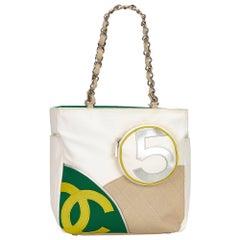 Chanel White / Ivory / Multi No.5 Sport Canvas Tote Bag