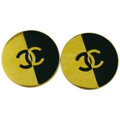 Chanel Vintage Large Black and Gold CC Clip-On Earrings