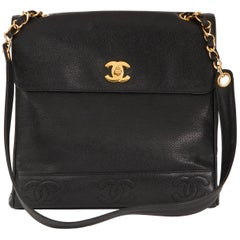Chanel Black Caviar Leather Vintage Shoulder Bag, 1996