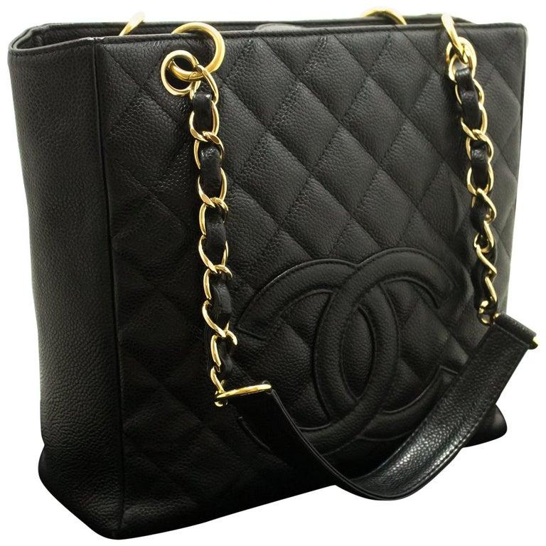 43430b0940e95 Chanel Kaviar Schwarz Gesteppte PST Shopper Schultertasche mit Kette ...