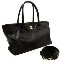 Chanel Black Gold Executive Tote Caviar Shoulder Bag Handbag