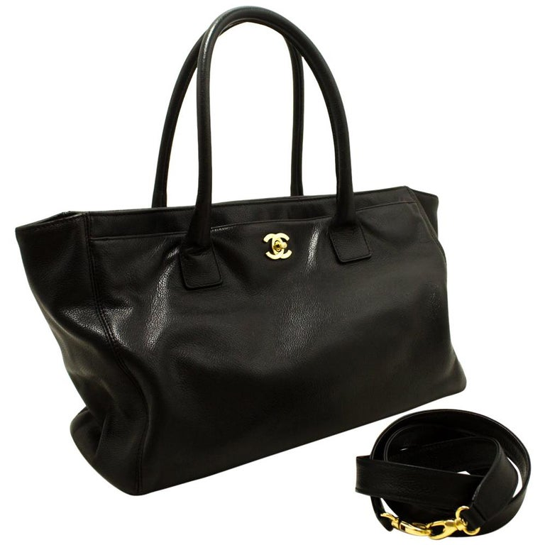 Chanel Black Gold Executive Tote Caviar Shoulder Bag Handbag For