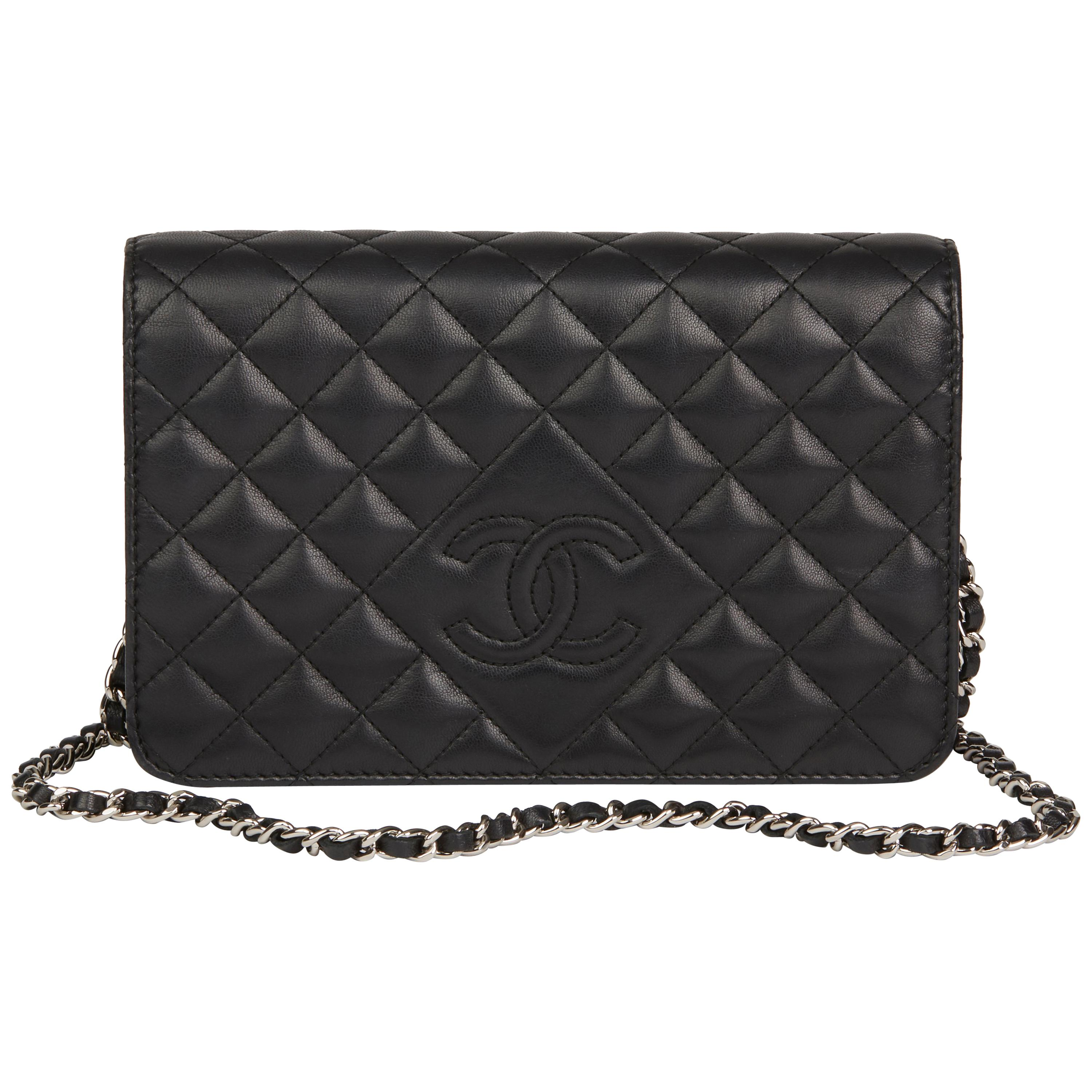 af4e55ba848c 2013 Chanel Black Quilted Lambskin Diamond CC Wallet on Chain at 1stdibs