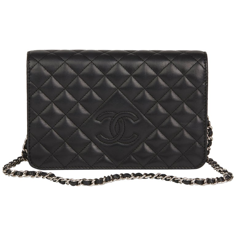 Chanel Black Quilted Lambskin Diamond CC Wallet on Chain, 2013