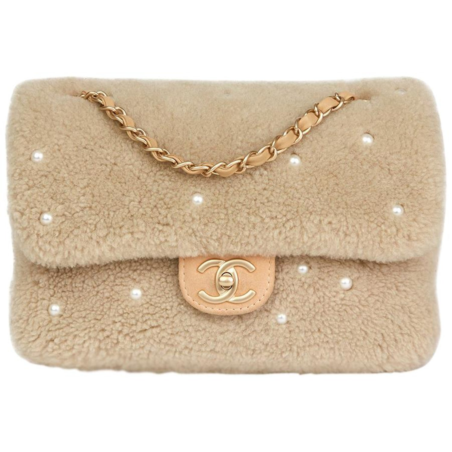 875774950570 Chanel Light Beige Pearl Shearling and Lambskin Single Flap Bag, 2014 at  1stdibs