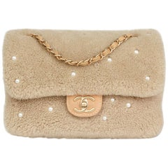 Chanel Light Beige Pearl Shearling and Lambskin Single Flap Bag, 2014