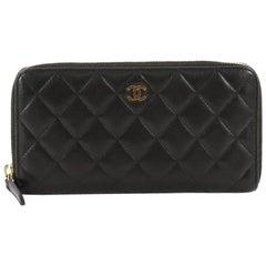 Chanel Quilted Lambskin Long Zip Around Wallet