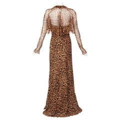 Pamella Roland Silk Leopard Print Strapless Evening Gown and Shawl