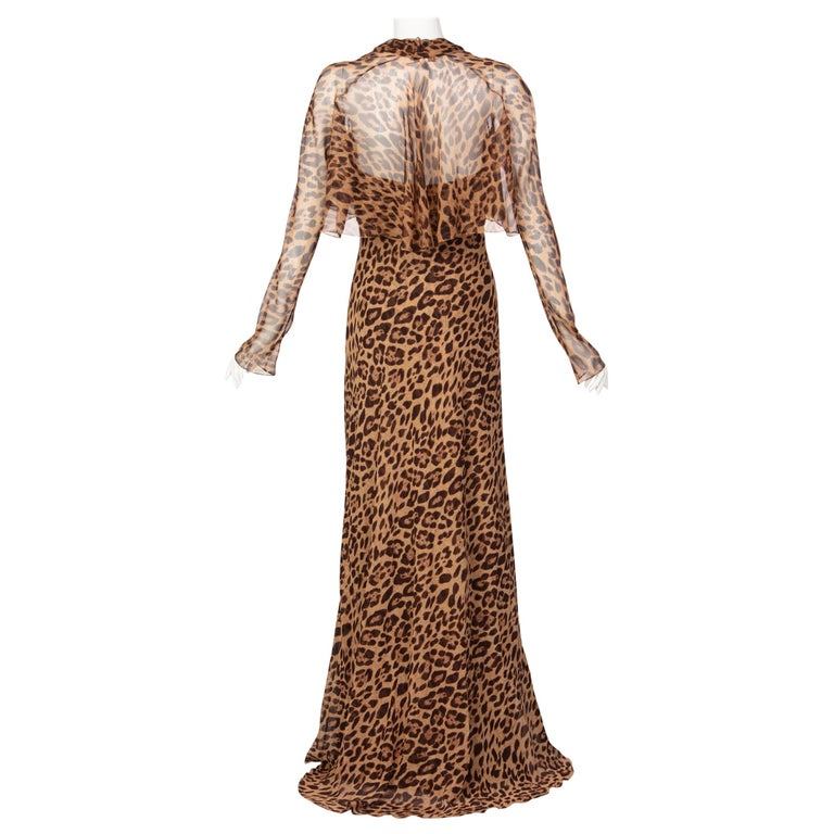 Pamella Roland Silk Leopard Print Strapless Evening Gown and Shawl For Sale