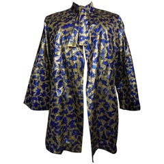Blue painted and gold lamé Kimono in the manner of Matisse Circa 1960