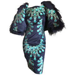 Giambattista Valli Silk Emerald Necklace Motif Dress with Feather Accented Vest
