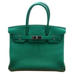 Hermes Vert Vertigo/Vert Vonce Clemence PHW Limited Edition Birkin 30 Bag
